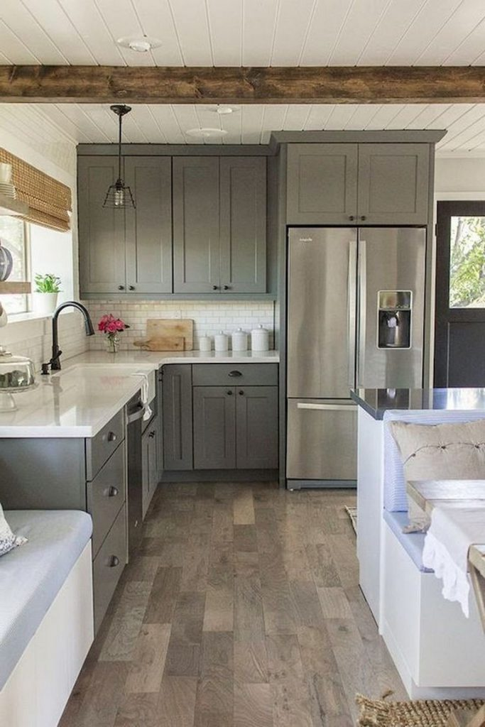 38+ Beautiful Farmhouse Gray Kitchen Cabinet Ideas - Page ...
