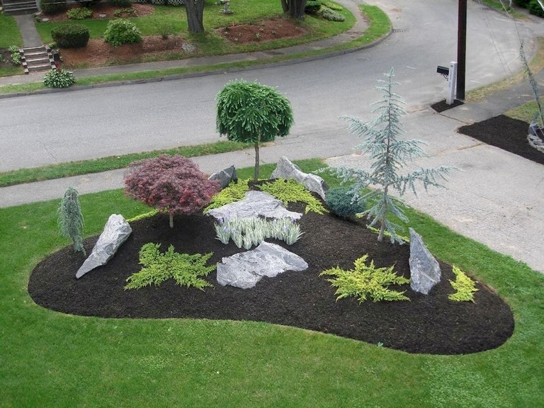 63 Beautiful Front Yard Rock Garden Landscaping Ideas