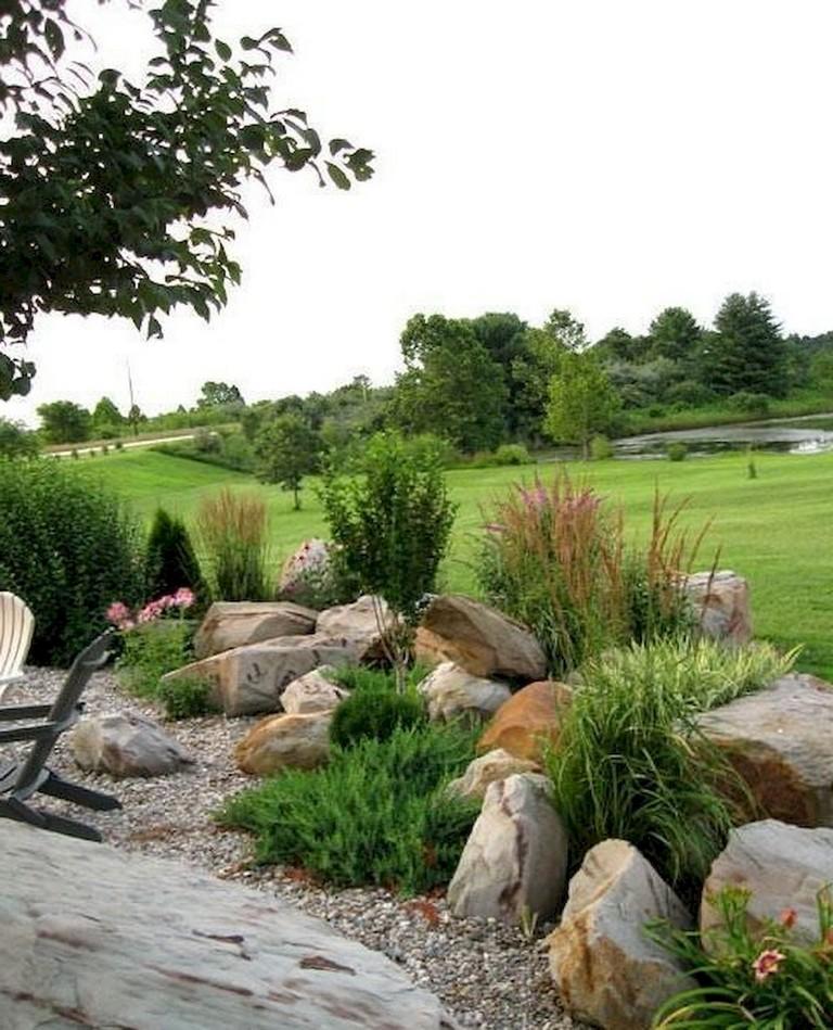 63+ Beautiful Front Yard Rock Garden Landscaping Ideas