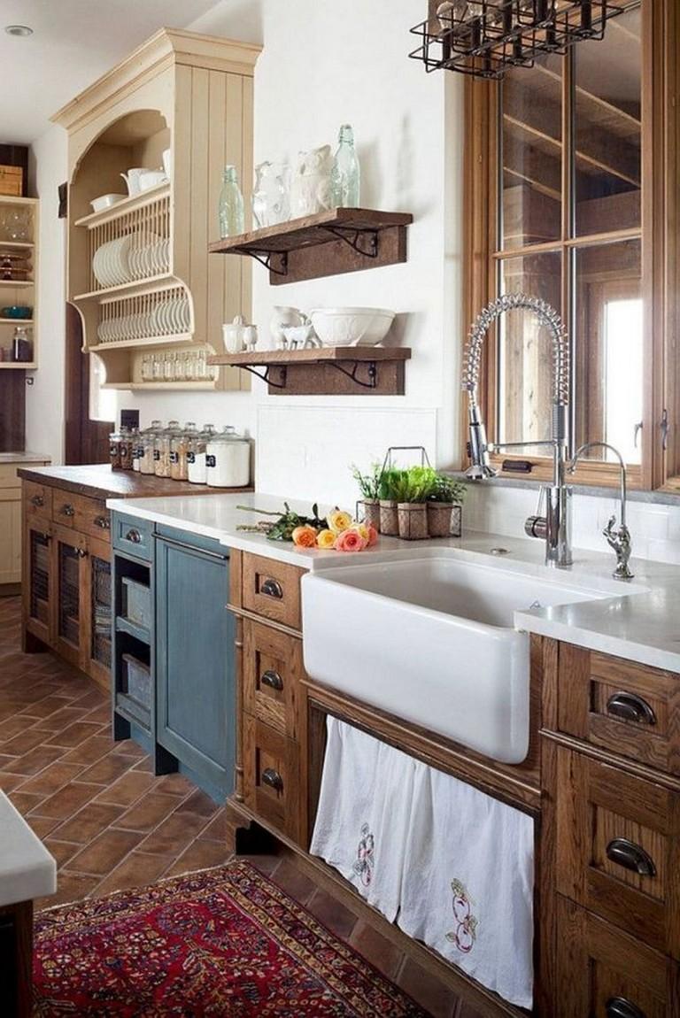 43 smart rustic farmhouse kitchen cabinets remodel ideas