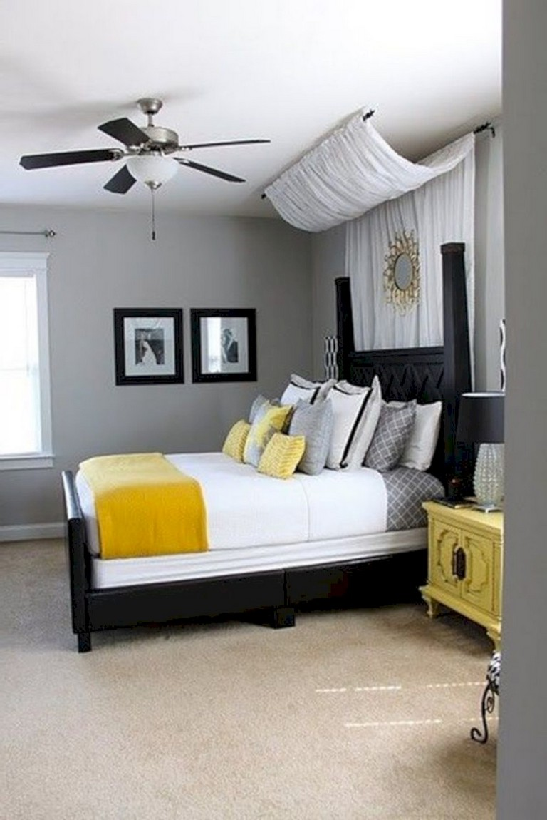 45+ Cozy Grey Yellow Bedrooms Decorating Ideas